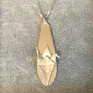 Origami fine silver pendant with sterling silver chain - 001