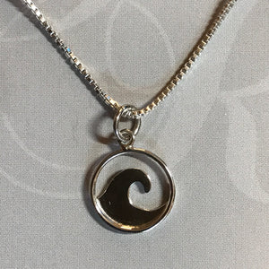 Sterling silver cutout wave pendant on sterling silver box chain necklace