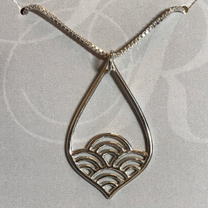 Sterling silver teardrop wave pendant on sterling silver box chain necklace