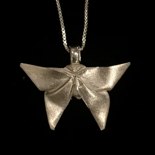 Butterfly origami fine silver pendant with sterling silver chain
