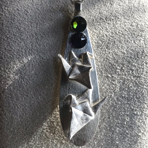 Double crane origami fine silver pendant with Swarovski crystals and sterling silver chain