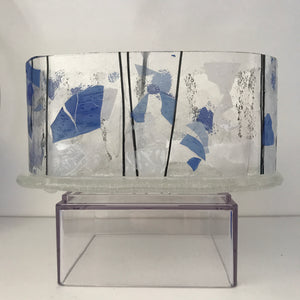 Fused glass tea lite candle holder.
