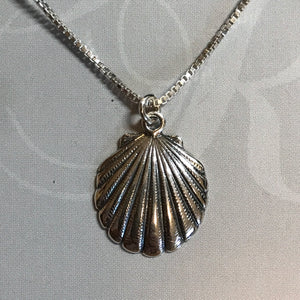 Sterling silver shell pendant on sterling silver box chain necklace