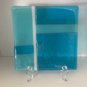 "Fused glass plate, Small (6"" x 6"" x 0.5"") - Blue Geometric"