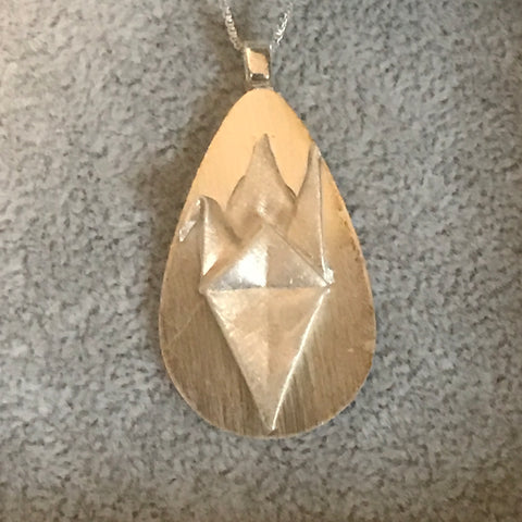 Origami fine silver pendant with sterling silver chain - 002