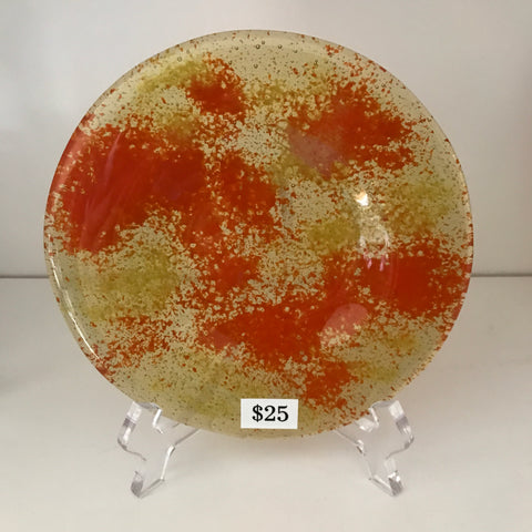 "Round fused glass plate 002 - 5"" diameter"
