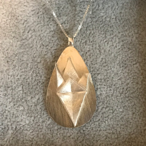 Origami fine silver pendant with sterling silver chain - 003