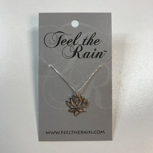 Sterling silver lotus blossom pendant on sterling silver box chain necklace