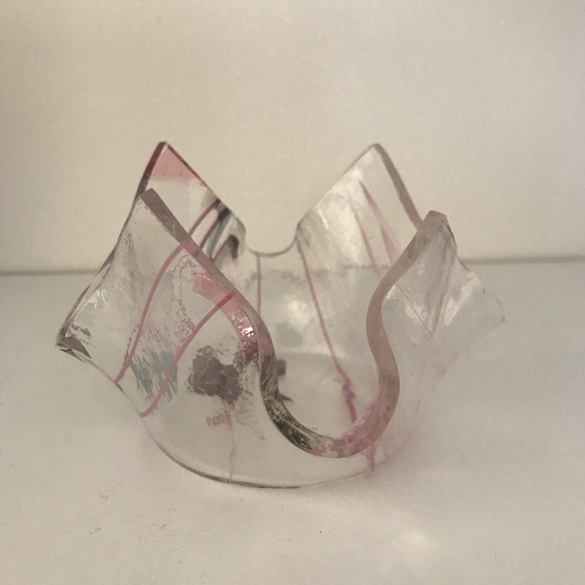 Handmade slumped glass votive candle holder - 002