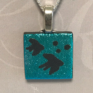 Etched glass pendant/necklace - 002