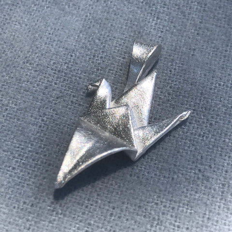 Handfolded crane origami fine silver pendant with sterling silver chain
