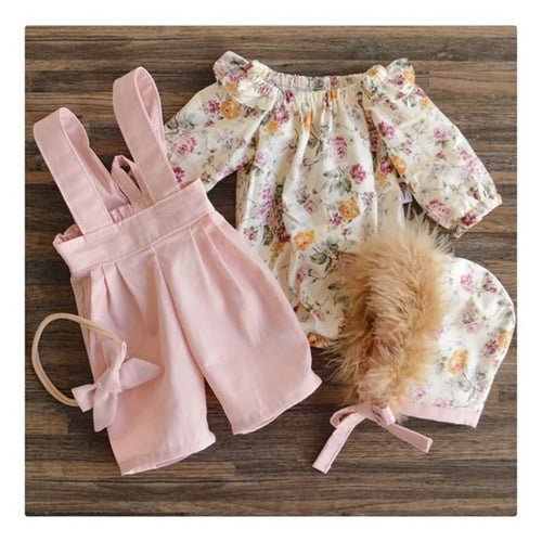 2PCS Tops and Overall Set