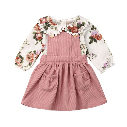 Baby Floral Doll Collar Top and Strap Skirt