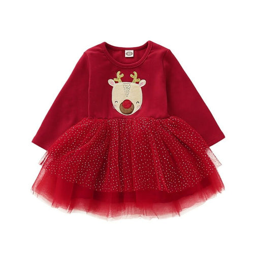 Christmas Baby Long Sleeve Tutu Dress