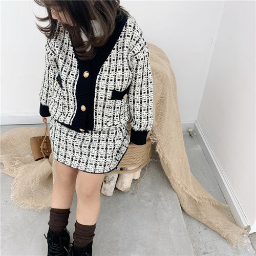 Kids 2 Pieces Plaid Coat and Skirt Sets