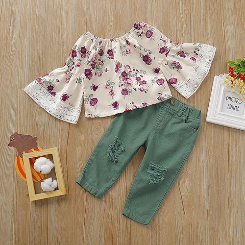 2PCS Kids Lace Flare-sleeve Floral Tops and Trouser Set