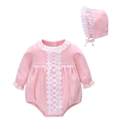 Baby 2pcs Long Sleeves Romper With Hat Set