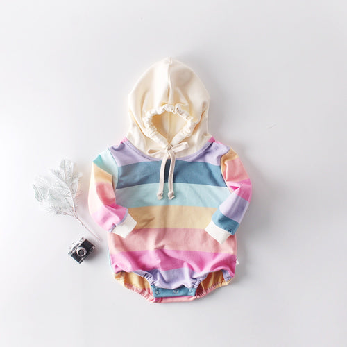 Baby Rainbow Long Sleeve Hooded Romper