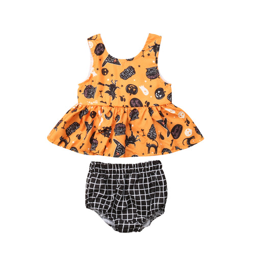 Baby Halloween Sleeveless Tops and Plaid Shorts Set