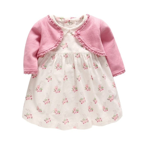 Baby 2pcs Floral Dress and Outerwear Set