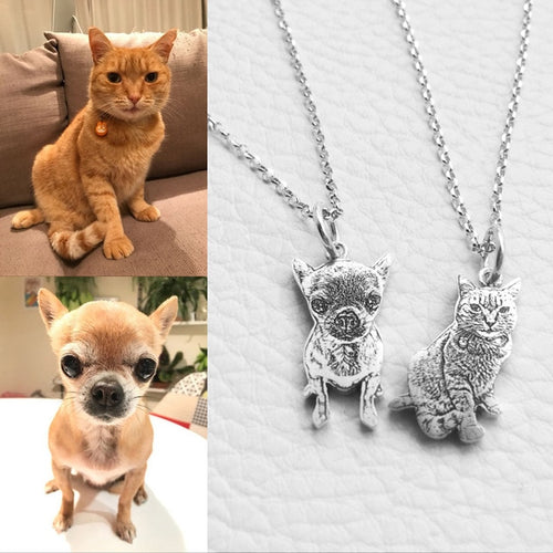 Custom Pet Photo Engraved Silver Pendant Necklace