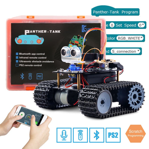 Kids Ultrasonic Bluetooth RC Tank Robot Smart Car