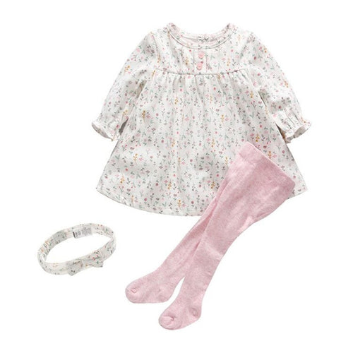 Baby Cotton Floral Print Dress and Leggings Set