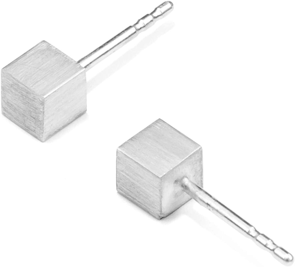 Stecker CUBE, Silber 925, Sterlingsilber, CUBE 4 mm, Handmade in Germany, JRJ