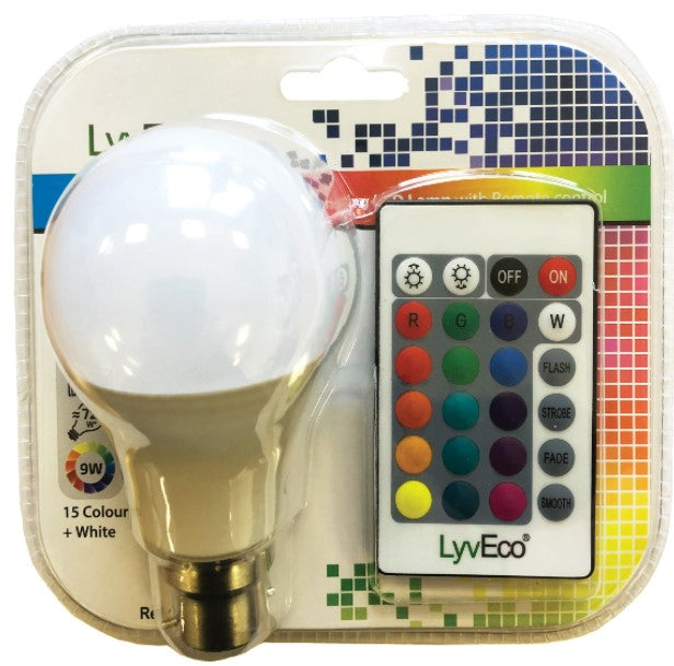 BC 9W LED 240V A60 (GLS) Colour Changing Lamp With Remote Control - LED Spares