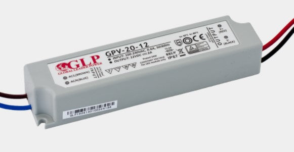 GLP GPV-20-12 24W 12V/2A IP67 LED Power Supply - LED Spares