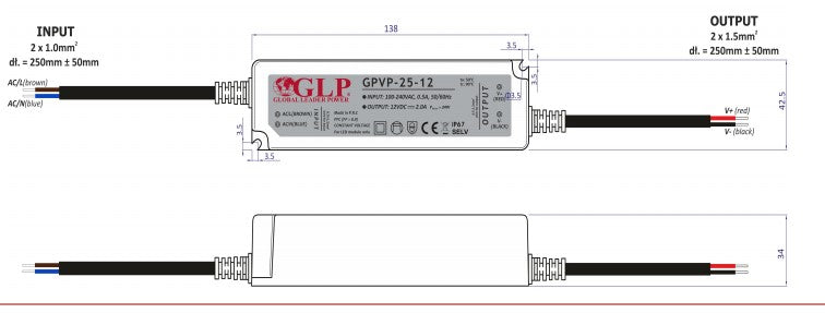 GLP GPVP-25-24 25W 24V/1A CV IP67 LED Power Supply - LED Spares