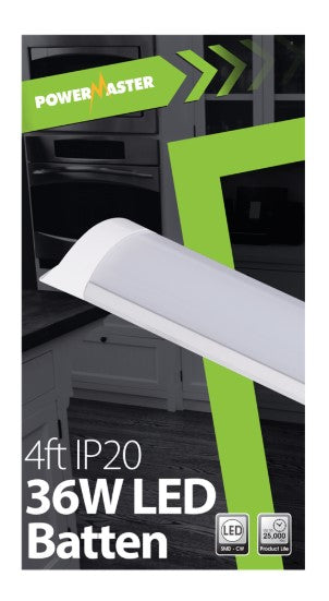 Powermaster LED IP20 4ft 120cm Batten Fitting - LED Spares