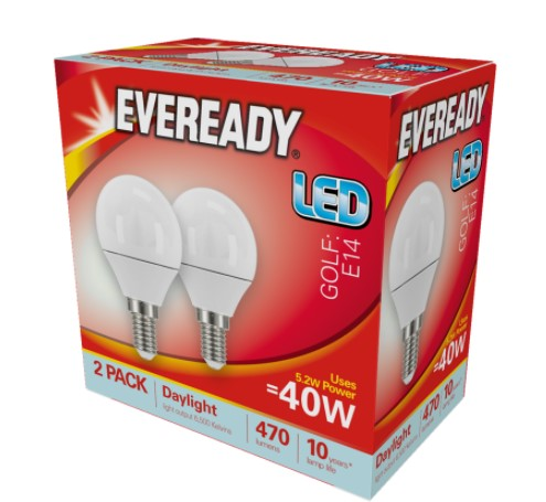 Eveready LED Golf Ball 5.2W 470LM Opal E14 (SES) 6,500K (Daylight) - Pack of 2 - LED Spares