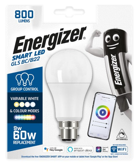 Energizer Smart B22 (BC) GLS LED Bulb - Colour Changing - LED Spares