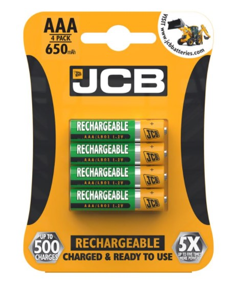 JCB AAA Rechargeable Batteries 650mAh - LED Spares