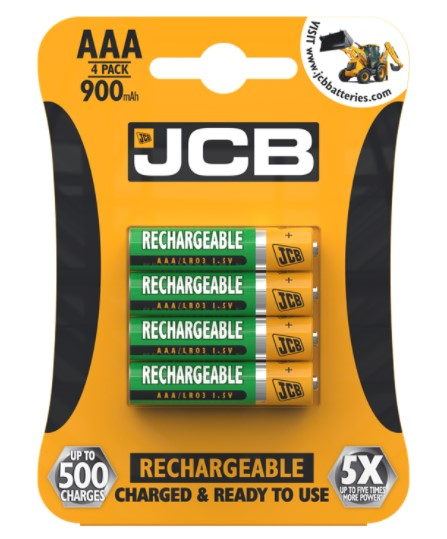 JCB AAA Rechargeable Batteries 900mAh - High Capacity - LES Spares
