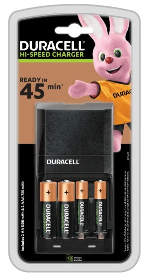 Duracell 45 Minute Charger With 2 X AA + 2 X AAA Batteries- LED Spares