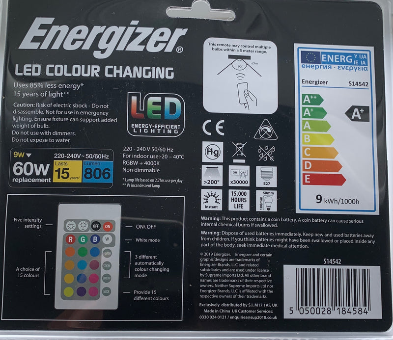 S14542 ENERGIZER Colour Changing E27 GLS LED RGB+W With Remote Control