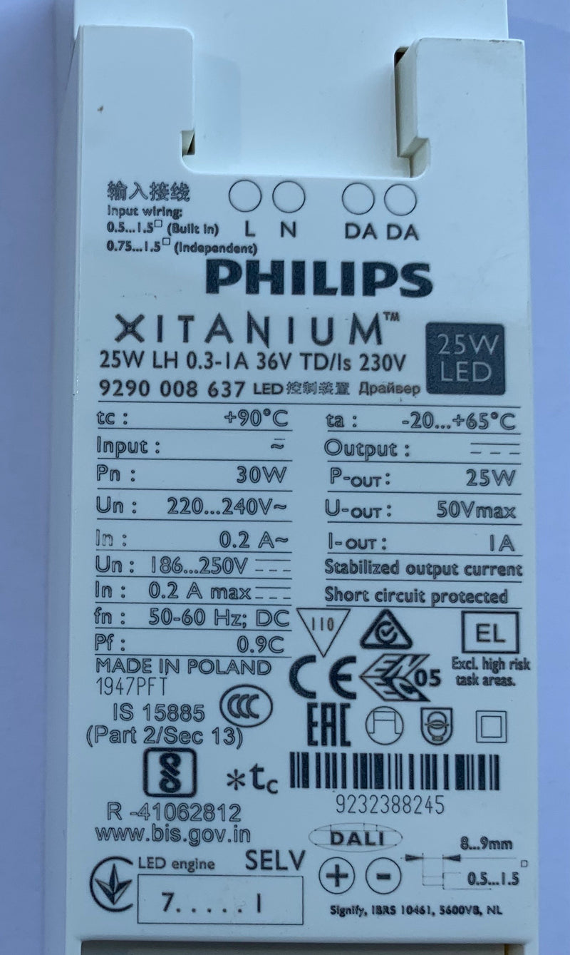 Philips 929000863703 Xitanium 25W LH 0.3-1A 36V TD/Is 230V - LED Spares