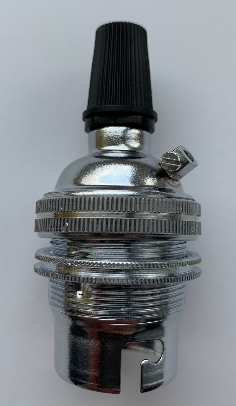 chrome BC Pendant Lampholder with cord grip - LED Spares LTD