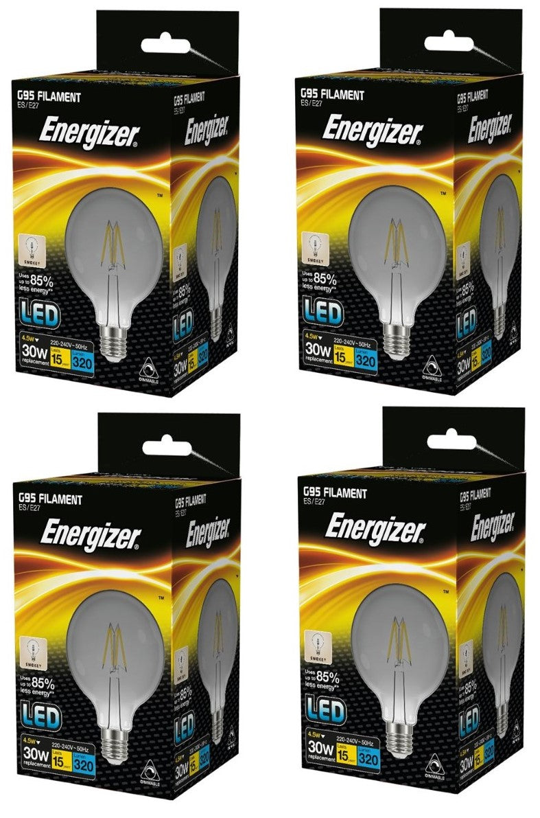 S15032 Energizer Filament Smokey LED G95 4.5W ES (E27) Dimmable Cool White -LED Spares