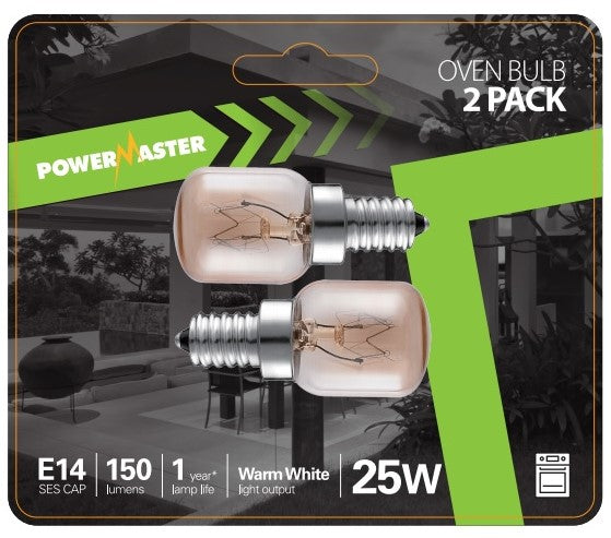 Powermaster 25W SES E14 Small Screw 300°C Oven Light Bulb NEFF Bosch Hotpoint Zanussi -LED Spares