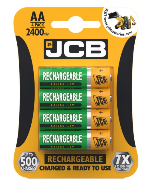 JCB AA Rechargeable Batteries 2400mAh - High Capacity - LED Spares