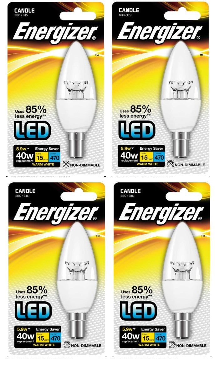 S8904 Energizer LED Candle 5.9W Clear  SBC (B15)  Warm White - LED Spares