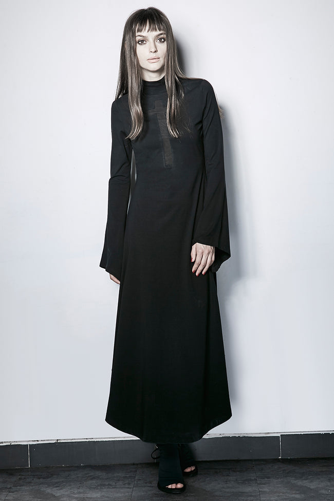Dark Cross Hollow-out Trumpet Sleeves Slim High Collar Gothic Dresses