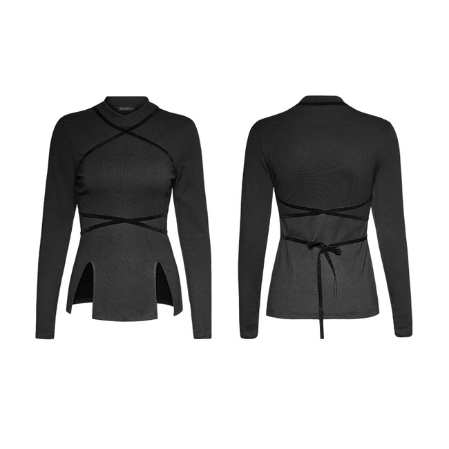 Adjustable Drawstring Hollow Out Tight Women Bottoming Gothic Shirt
