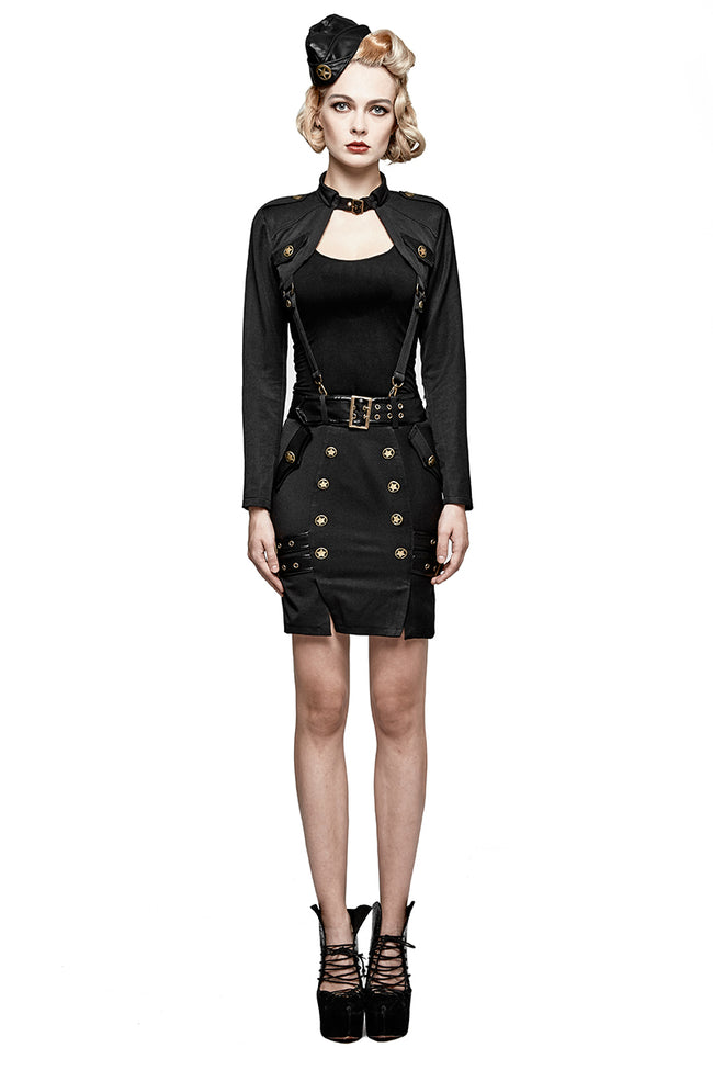 Delicate Uniform Military Warrior Wrapped Half Punk Skirt