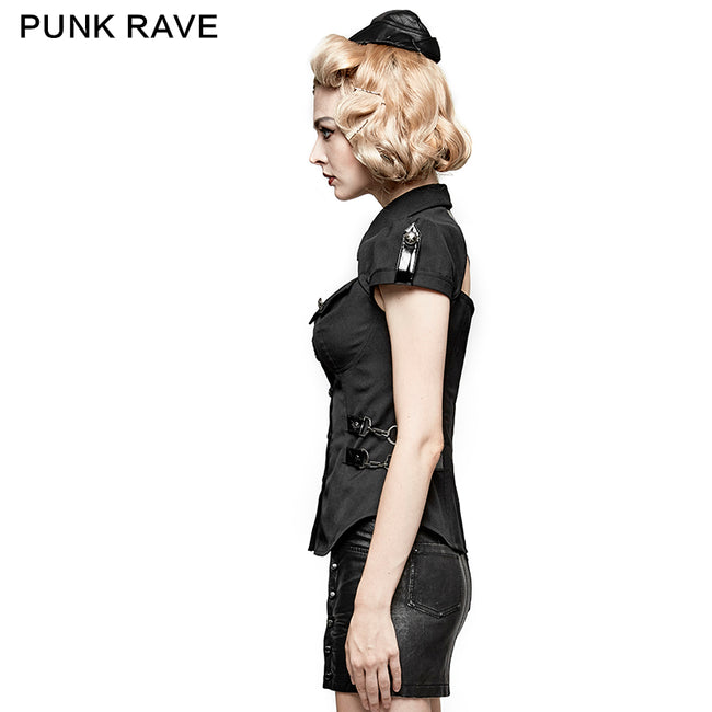 Cool Black Short Sleeves Fitted Women Tunic Punk Shirts