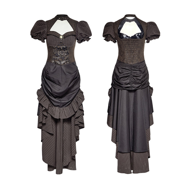 Steampunk British Style Coffee Puff Sleeve High Low Punk Dress