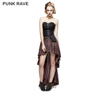 Retro Strapless Tube Top Dress High Low Lace Pleated Punk Dress